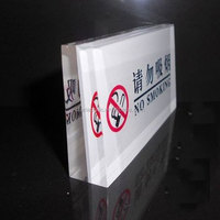 Clear Acrylic NO SMOKING Sign Board for Hotel, Acrylic Hotel Sign Board