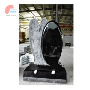 Shanxi Black Granite Angel Headstone Monument,Headstone With Angel Engrave