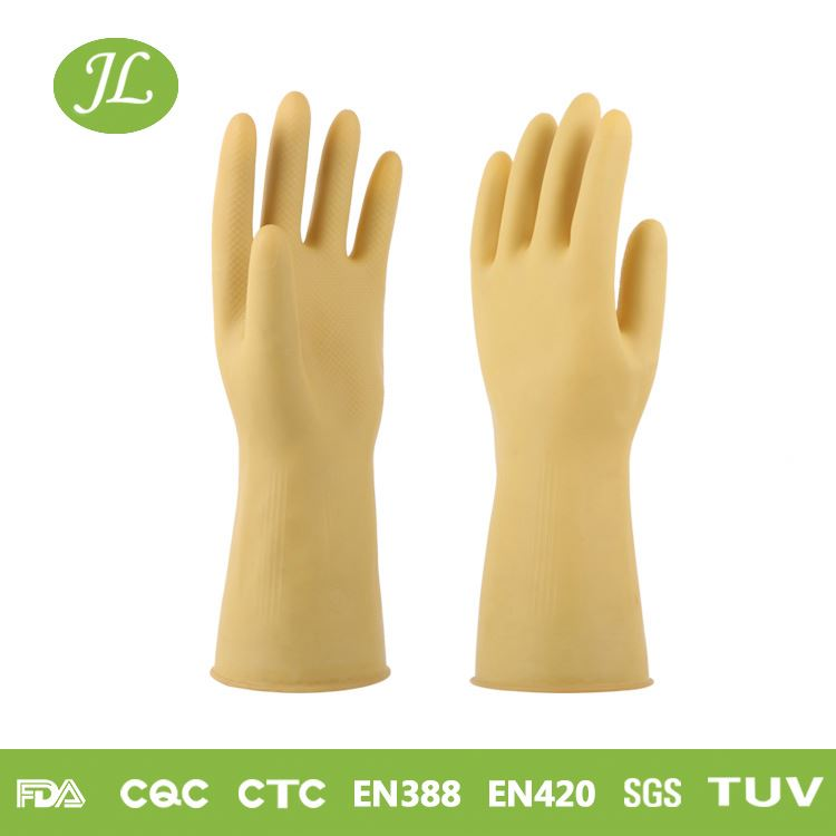 Comfortable and elastic skin color 320mm latex household soft touch gloves