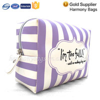 PU mirror purple stripe print makeup case for Girl