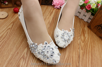 White lace crystal low heels with a ladies' shoes dress and heels bridesmaids shoes WS033