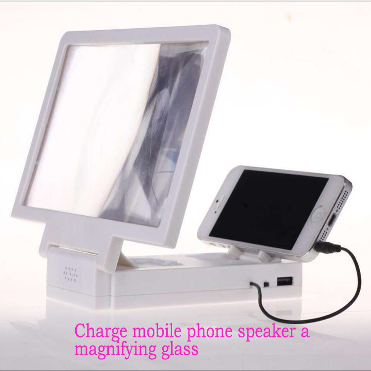 3D Foldable Mobile Phone Enlarge Screen Magnifier with speaker,Charge mobile phone screen magnifier
