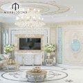 luxury Villa interior living room design waterjet tile marble floor medallions