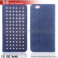 Blue Hollow Dots Wallet Leather Stand Cover Case for iPhone 6S