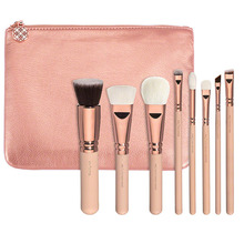 DZ 8pcs Top Quality Rose Golden Makeup Brush Set with PU Pouch