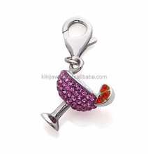 Lovely Eco-friendly 3D Pink Red Crystal Cocktail Charms Jewelry With Lobster Clasp