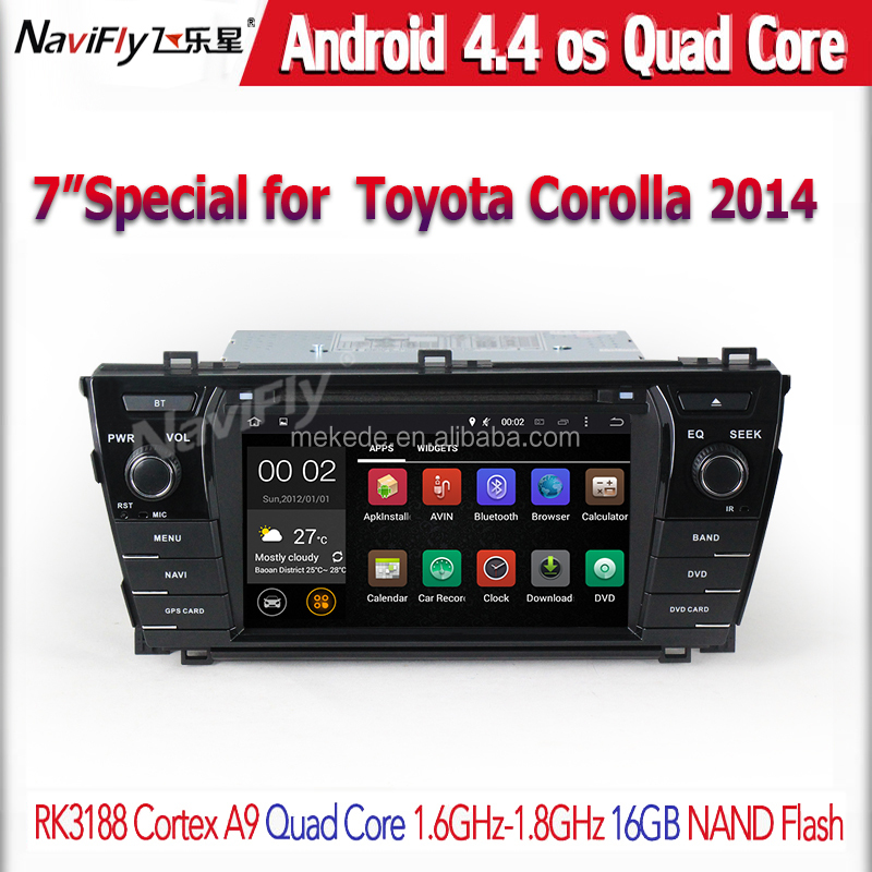 HD 1024*600 Quad Core 4 Android 4.4 Car DVD Player for Toyota Corolla 2013 2014 2015 GPS Navigation Radio 3G WIFI Stereo System