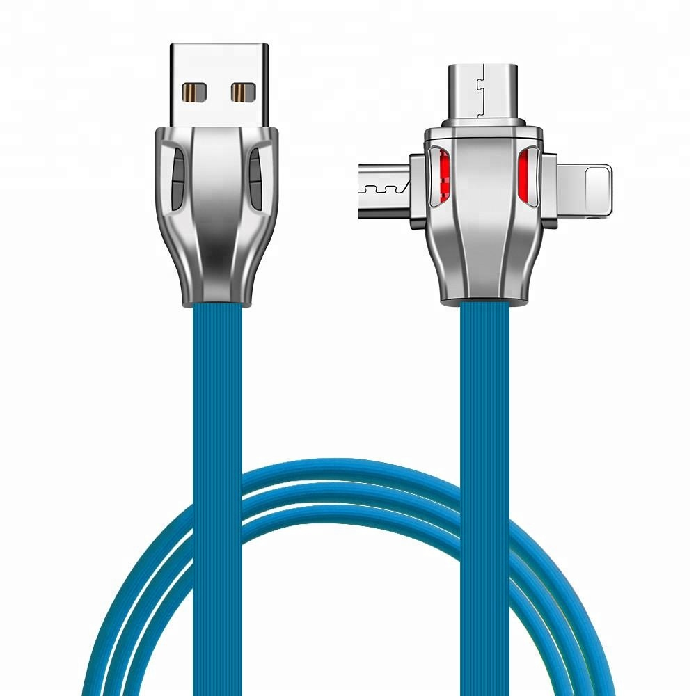 Zinc Alloy 3 in 1 Type C Micro Charging USB Cable