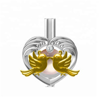 love birds pearl cage decoration silver charm gold plated jewelry cultured pearl heart wing necklace pendant