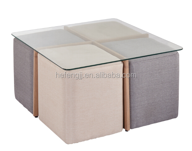 Top Tempered glass coffee table set with fabric stools