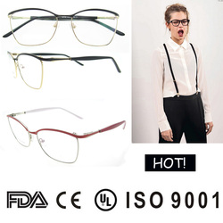 2016 high quality fashion fake glasses frame with pattern temples provide red black blue optical glasses FDA eye frames
