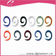 Custom piercing fake taper uv acrylic spiral ear taper