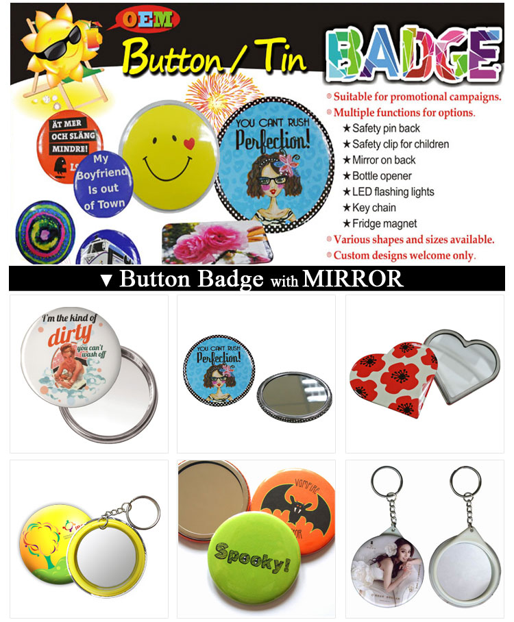 Stainless Steel Customized Promotional Compact Small Round Mirror with Logo