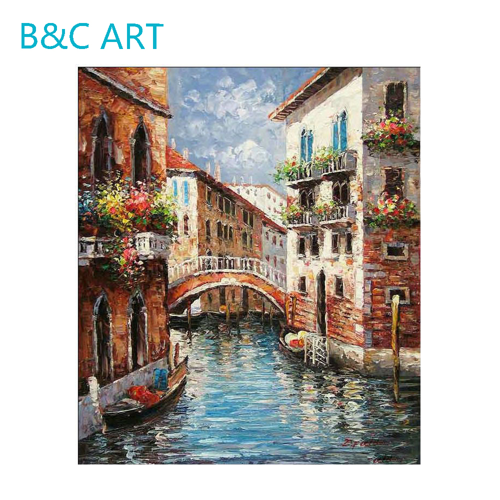 Beautiful cityscape oil painting of venice modern house boat scenery art painting
