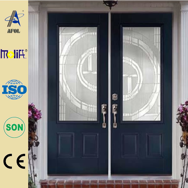 Modern America style double leaf steel door price