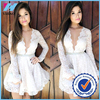 Trade Assurance Yihao New Sexy Deep V Neck Women Lace Long Sleeve White Mini Dresses Dress 2015