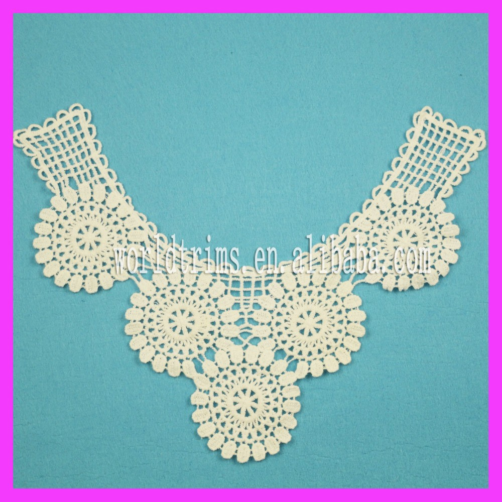 New machine embroidery neck design lace for churidar WNL15