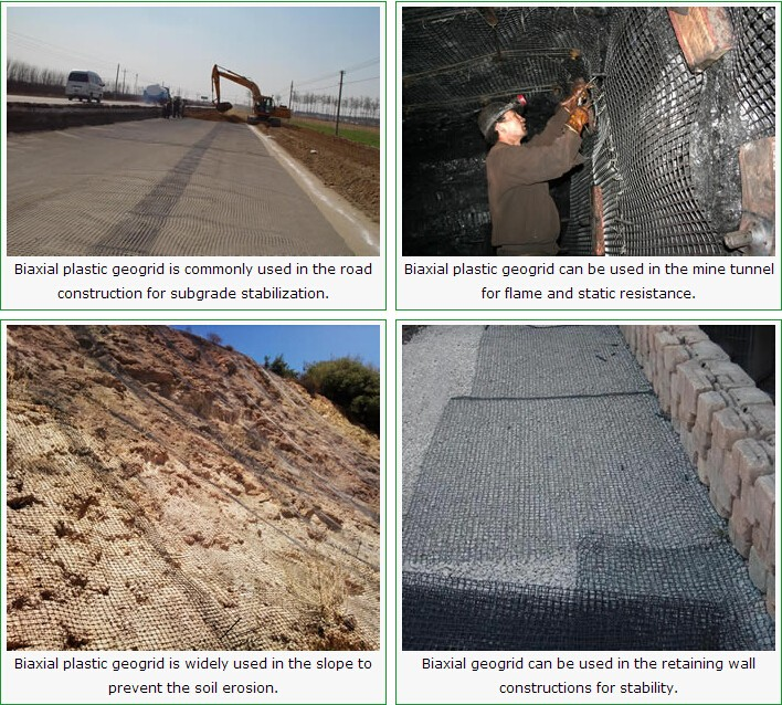 Combigrid type PP biaxial geogrid for ground base stabilization
