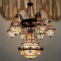 Antique hanging tiffany lamp stained glass chandelier for home, hotel lobby