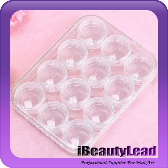 12pcs empty nail container nail decoration bottle nail glitter jar