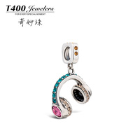 T400 made with swarovski elements Crystal,925 sterling Silver,slide bracelet Charms,earphone, #Q162