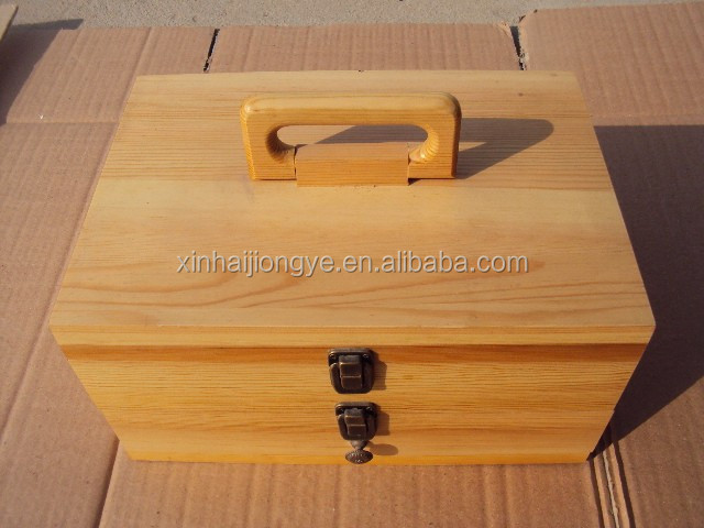 Multifunction pine wood natural color wooden storage box with wood handle