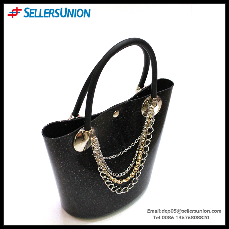 Factory hot selling PVC Clean Color Simplify style high-capacity women shoulder bag with silk