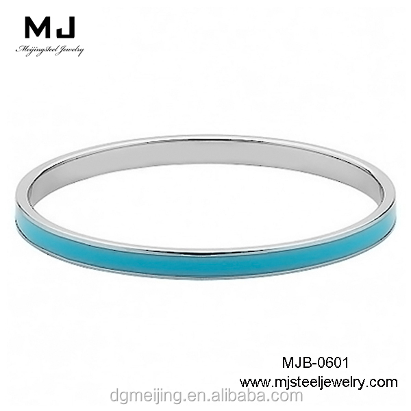 316 Stainless Steel Colourful blue epoxy thin plain metal bangle