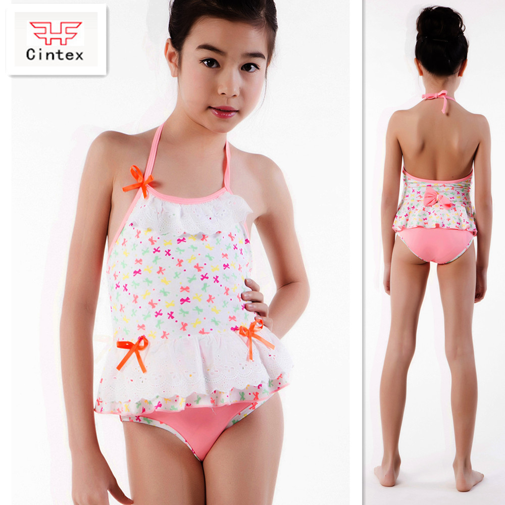 Children Sexy Girls White One Piece Backless Swimsuit