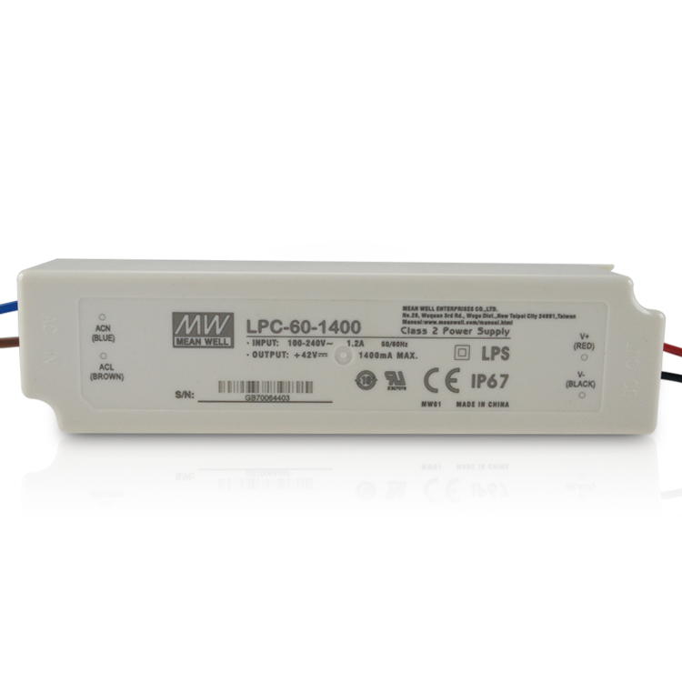 MEANWELL UL CE EMC CSA LPC-60-1400 60W 1400mA IP67 Constant Current LED Driver