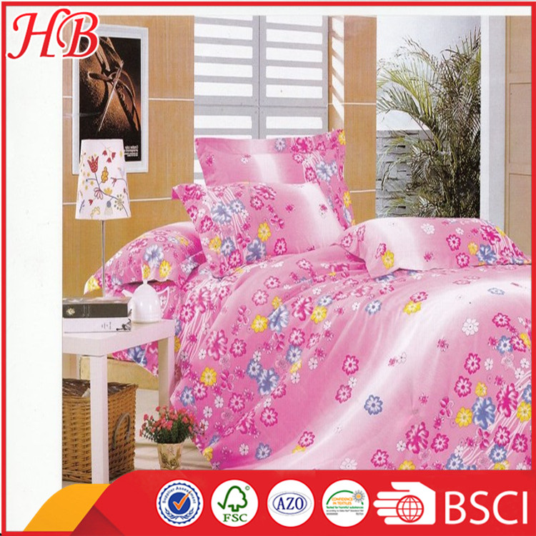 100% polyester China factory direct sale high quality stock lot bed sheet,flower print bedding