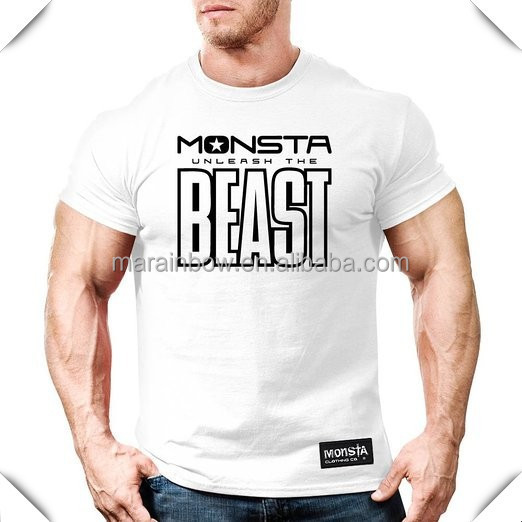 plain design Athletic Cut Loose Fit 100% Preshrunk Cotton Men's printing beast muscle T-shirt bodybuilding shirt