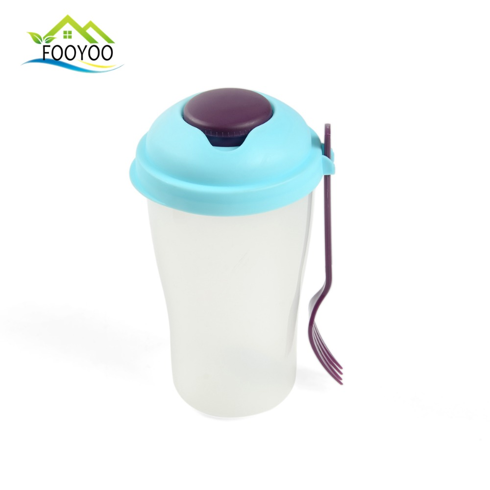 FOOYOO FY-1576 Custom printed plastic salad cup water drinking bottle with a fork