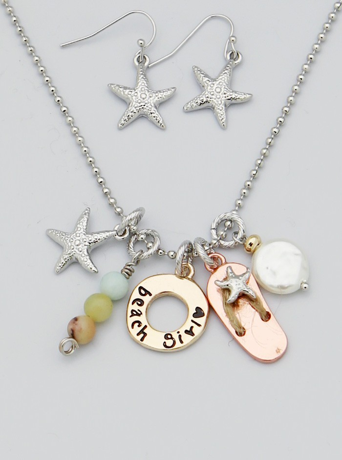 Sea Life Starfish Flip Flop Freshwater Pearl Dangle Necklace Set