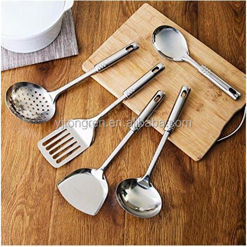 5 Set Stainless steel Utensil Kitchen Cooking Tools Spoon Spatula shovel Mixing