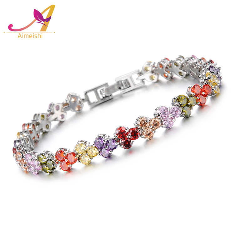 Women Luxury White Gold Plated Platinum Copper Colorful Cubic Zirconia Pave Setting Tennis Bracelet With Clasp