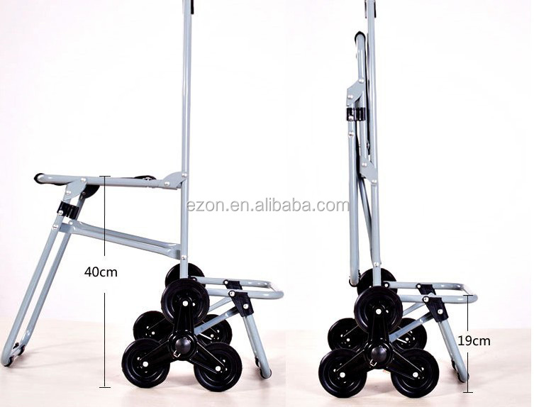 Collapsible Shopping Cart Bag With Seat 6 Wheel Climbing