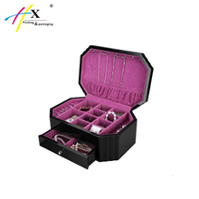 customized wooden jewellery box double drawer layers with mirror