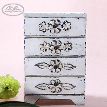 Customized vintage four drawers jewelry storage small wooden drawer storage box