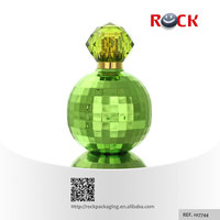 Custom design CE/ISO 100ml green diamond shaped perfume bottles with surlyn plastic cap