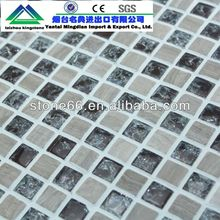CN hotsale stainless steel mix glass mosaic tile