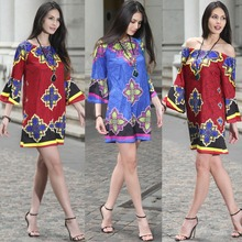 RUIYIGE New Coming Women Retro Floral Print Dress Flare Sleeves Mini Sissy Casual Dresses for Wholesale