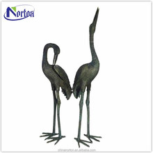 Life size two cranes bronze statue in the square NTBA-015Y