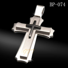 Hot sale 316l stainless steel hammered cross pendants