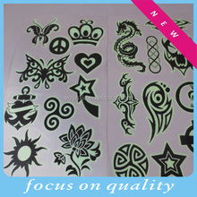 Non-toxic glow in dark body tattoo sticker for customer design