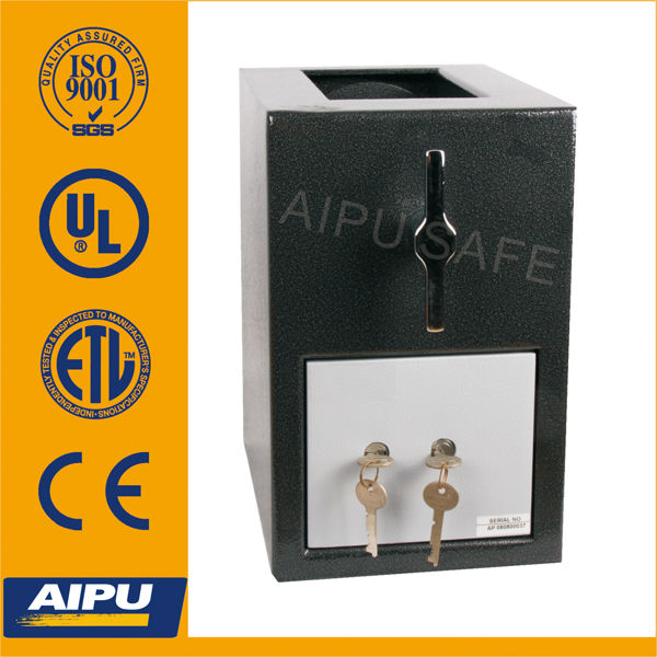 Mini hopper safes RH1309-K/money deposit safe/ 3mm body , 12mm door / 330 x 210 x 299 (mm) / UL listed safe deposit key lock