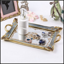 New Resin Tea Tray With Blue Color And Mirror For Return Gifts And Office Art