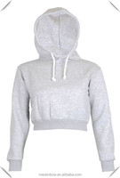 Wholesale Plain Grey 100% Cotton Polar Fleece Womens Cropped Hoodies & Pullover Sweatshirts Custom Made Womens Crop Top