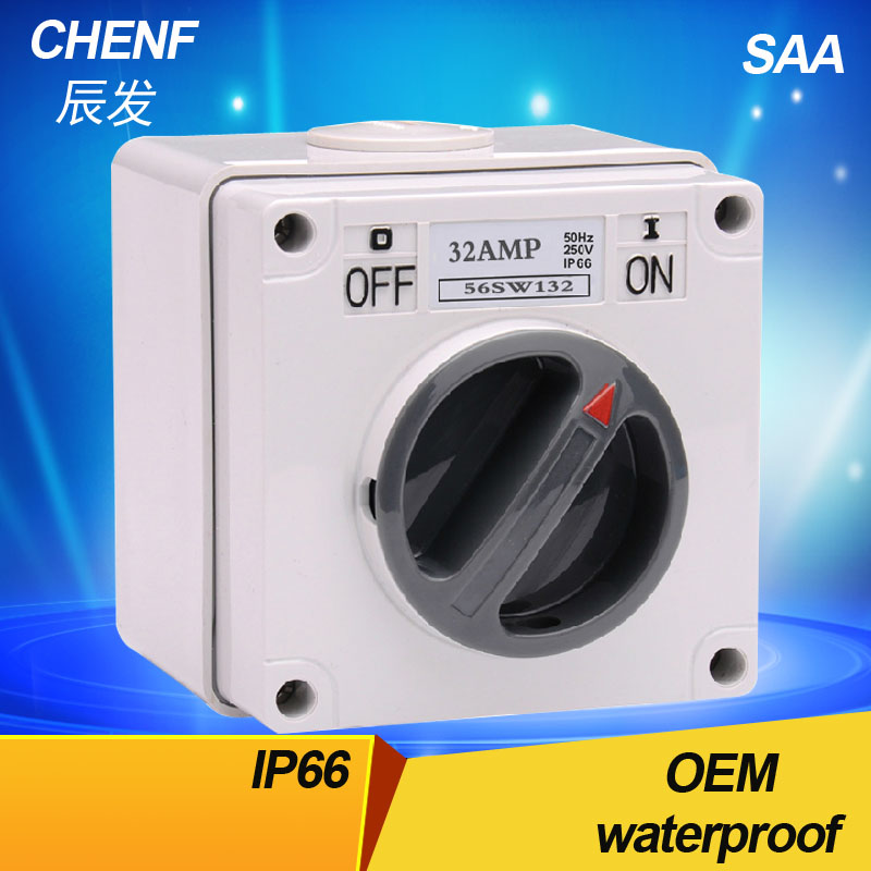 Waterproof 32AMPA Australian electrical rotary switches