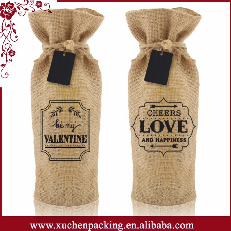 China Cheap Round Bottom Drawstring Jute Wine bag Wholesale For Wedding